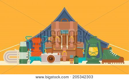 Camping icons set. Hike outdoor elements. Vector illustration
