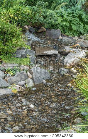 Rocks can be seen below the surface of a small stream in Seatac Washington.