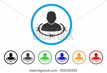 Captured Man rounded icon. Style is a flat captured man gray symbol inside light blue circle with black, gray, green, blue, red, orange variants. Vector designed for web and software interfaces.