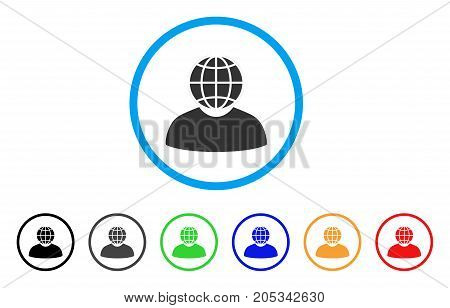 Global Politician rounded icon. Style is a flat global politician gray symbol inside light blue circle with black, gray, green, blue, red, orange versions.