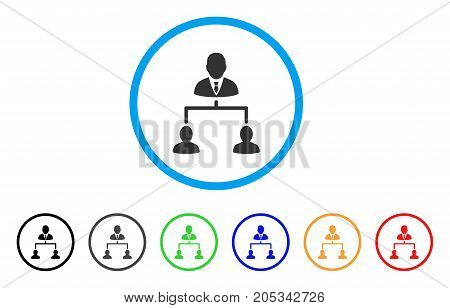 Human Hierarchy rounded icon. Style is a flat human hierarchy gray symbol inside light blue circle with black, gray, green, blue, red, orange color versions.
