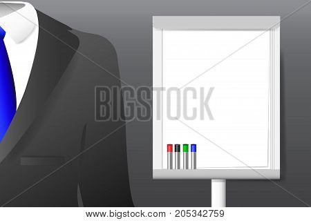 Concept of men`s suit with shirt and tie standing next to the empty flipchart with markers ready for your text.