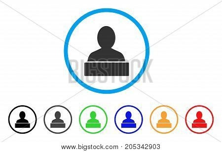 Monument rounded icon. Style is a flat monument gray symbol inside light blue circle with black, gray, green, blue, red, orange variants. Vector designed for web and software interfaces.