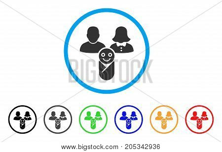 Newborn rounded icon. Style is a flat newborn grey symbol inside light blue circle with black, gray, green, blue, red, orange versions. Vector designed for web and software interfaces.