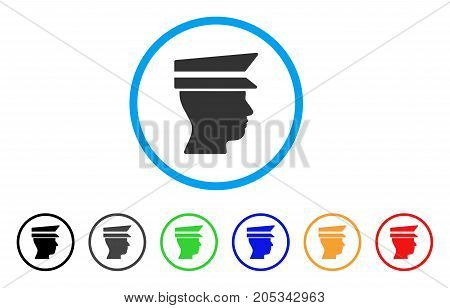 Officer Head rounded icon. Style is a flat officer head grey symbol inside light blue circle with black, gray, green, blue, red, orange variants. Vector designed for web and software interfaces.