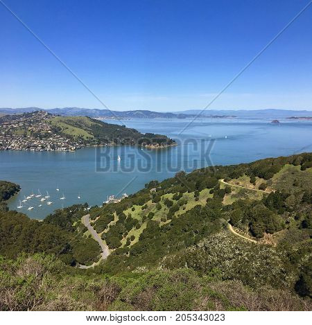 Beautiful bay island vista in San Francisco area (Angel Island) with boats