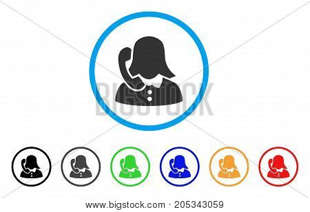 Phone Support rounded icon. Style is a flat phone support grey symbol inside light blue circle with black, gray, green, blue, red, orange versions. Vector designed for web and software interfaces.