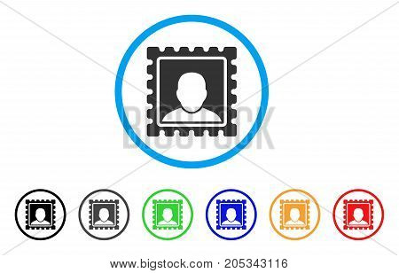 Postal Mark rounded icon. Style is a flat postal mark gray symbol inside light blue circle with black, gray, green, blue, red, orange variants. Vector designed for web and software interfaces.