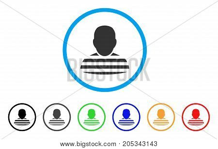 Prisoner Person rounded icon. Style is a flat prisoner person gray symbol inside light blue circle with black, gray, green, blue, red, orange color versions.