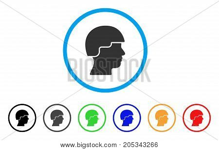 Soldier rounded icon. Style is a flat soldier grey symbol inside light blue circle with black, gray, green, blue, red, orange color versions. Vector designed for web and software interfaces.