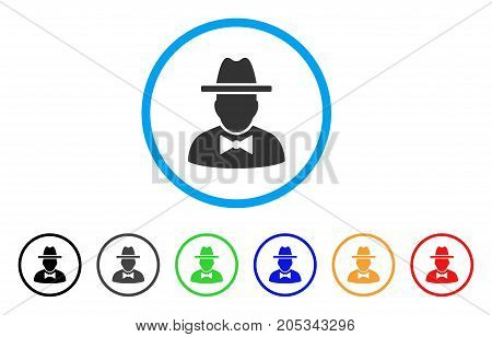 Spy rounded icon. Style is a flat spy gray symbol inside light blue circle with black, gray, green, blue, red, orange color versions. Vector designed for web and software interfaces.
