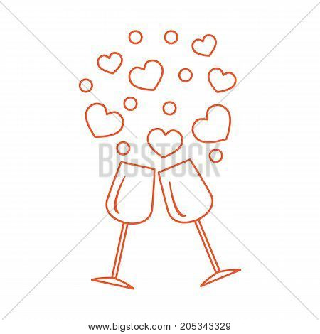 Cute Vector Illustration Of Two Stemware With Hearts. Greeting Card Valentine's Day.