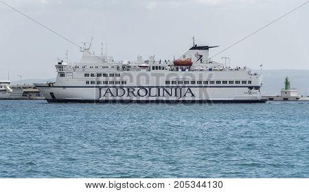 SPLIT, CROATIA - JULY 13, 2017: Sea ferry in the city of Split. Sea ferries in Croatia are the main transport between the islands.