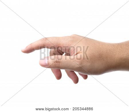 hand pointing up with index finger or touching isolated on white background