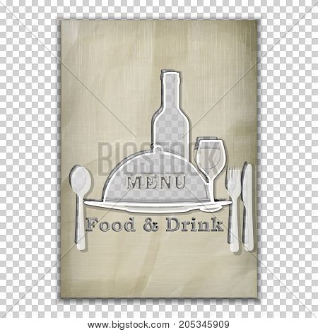 Template menu cover, food and drink menu stencil from old paper. Isolated objects, the substrate can be removed or put your background image. A4 paper size.