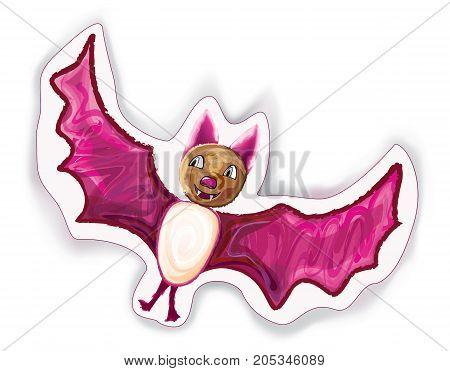 Halloween cartoon Bat character on white. Vector illustration