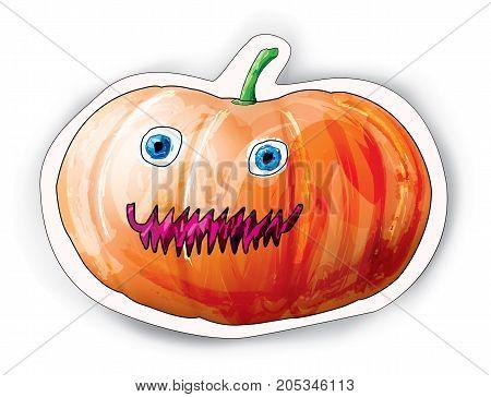 Halloween cartoon pumpkin character on white. Vector illustration