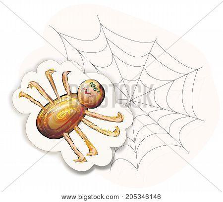 Halloween cartoon Spider character on net. Vector illustration