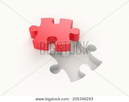 3D illustration - Red puzzle piece on white background.