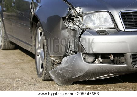 Car crash, accident on street, damaged cars after collision
