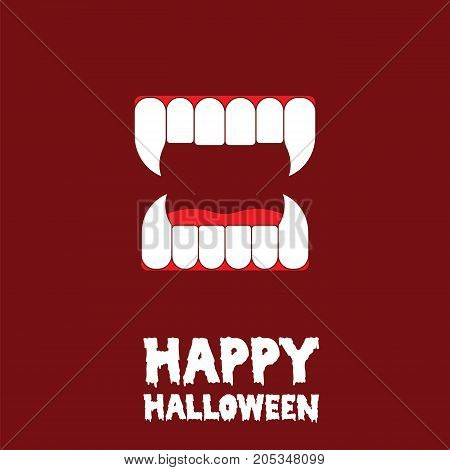happy halloween canine tooth background, vampire party greeting, vector illustration