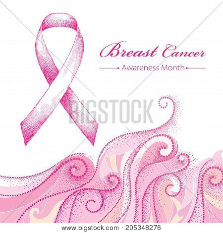 Vector illustration with pink ribbon and dotted pink swirls isolated on white background. Breast Cancer Awareness Month symbol. Design for international health campaign for woman in October.
