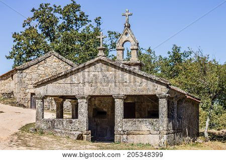 A small chapel in a abandoned village in the countryside of Galicia North of Spain. Xures Natural Park.