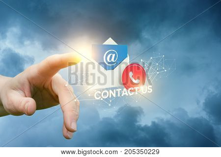Hand Clicks On The Icon Contact Us .
