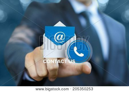 Businessman Clicks On The Contact Us .
