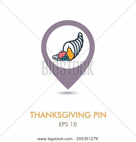 Autumn cornucopia horn of plenty mapping pin icon. Harvest. Thanksgiving vector illustration eps 10