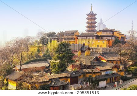 The seven storied Medicine Buddha Pagoda at Jiming Temple in the city of Nanjing located in Jiangsu province China.