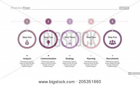 Five step process chart slide template Element of chart, infographic, diagram. Concept for presentation, layout, template. Can be used for topics like business, strategy, marketing, finance, planning