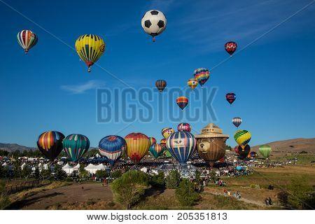 Hot Air Balloons Lift Off In Reno, Nevada
