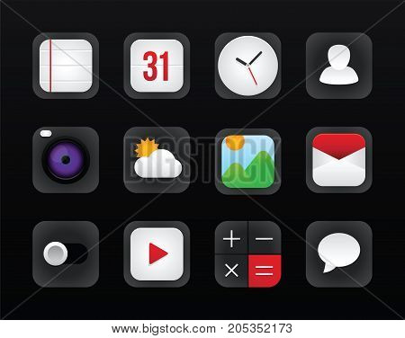 Icon set vector mobile interface on black background. Vector illustration diverse icons for mobile interface. Vector icon design for operation system