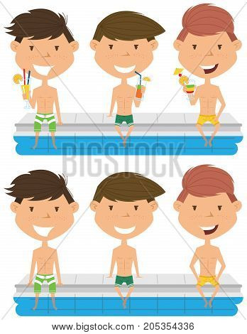 Cute boys sit at the edge of the pool with nonalcoholic drinks. Young teens having fun in outdoor swimming pool. Summer vacation in the resort.