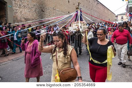 Quito Ecuador - Dec 3 2012: Procession takes the Jesus statue from Iglesia San Francisco to a different church
