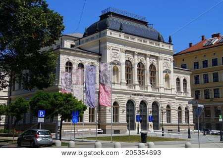 Ljubljana, Republic of Slovenia -  August 5, 2017: National Gallery of Slovenia, Narodna Galerija, Ljubljana.