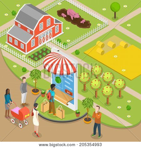 Organic food online order flat isometric low poly vector concept. People are ordering foods through the smartphone shown as store, that located just near the farm. Fast delivery.