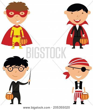 Happy boys in Halloween costumes. Children collect sweets in holidays costumes. Vector set with cartoon characters: vampire wizard pirate and superhero