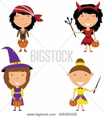 Happy girls in Halloween costumes. Children collect sweets in holidays costumes. Vector set with cartoon characters: wizard pirate evil and fairy.