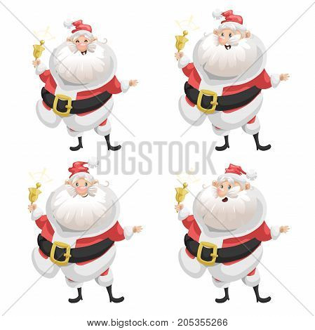 Funny cartoon style set of smiling Santa Claus with ring bell character icon. Christmas seasonal vector. Simple gradient artwork.