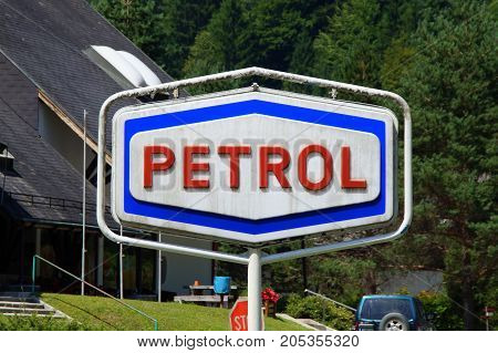 Solcava, Slovenia - August 2, 2017: Patrol gas station logo.Patrol gas stations are found in in the former Yugoslavia.
