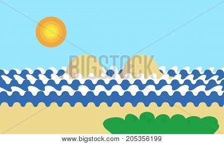 Mountain cartoon view of an island in the sea with waves green tree or grass under a blue day sky with sun horizon - vector