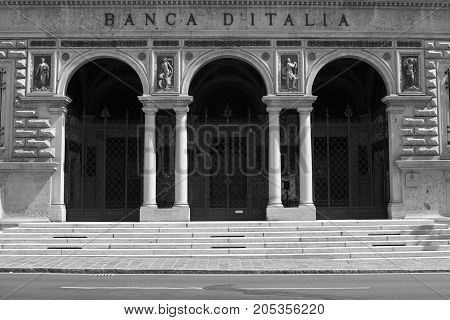 Bergamo, Italia -  August 17, 2017: Entrance of The Bank of Italy, filiaal Bergamo. The Bank of Italy known in Italian as Banca d'Italia also known as Bankitalia and is the central bank of Italy.