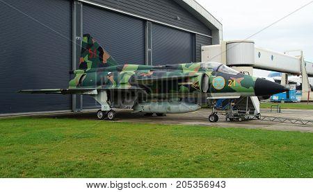 Lelystad, Netherlands  - August 20, 2017: Swedish single-seat and single-engine combat aircraft, Saab 37 Viggen (