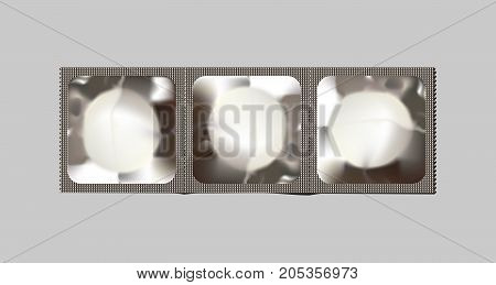 Three connected condoms. Vector realistic condom bunch.
