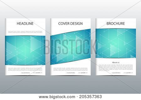 Abstract vector covers template set. Brochure layout design, triangles and polygonal background