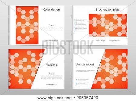 Rectangle brochure template layout, cover, annual report, magazine in A4 size with hexagonal pattern. Geometric abstract background. Vector illustration