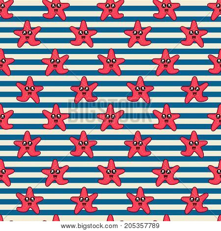 Cute kids pattern for girls and boys. Colorful starfish on the abstract background create a fun cartoon drawing. The background is made in pastel colors. Urban backdrop for textile and fabric.
