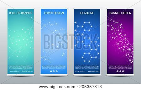 Abstract roll up banner for presentation and publication. Science, technology and business template. DNA structure background, vector illustration
